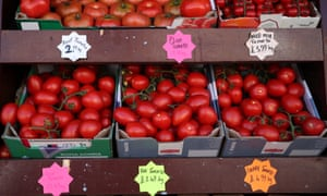 Tomatoes for sale outside the Mediterranean Food Centre on Streatham High Road in south London.