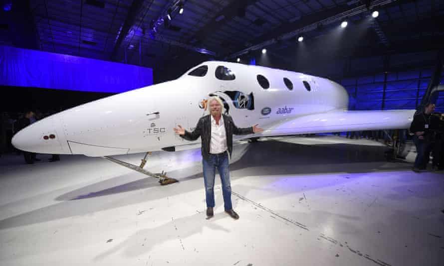 Richard Branson in front of Virgin Galactic's SpaceShipTwo in 2016.