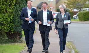 David Cameron and Theresa May flank the Conservative candidate for Witney, Robert Courts, while campaigning in a byelection in the autumn of 2016.