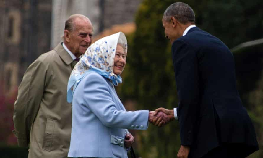 The Queen and Prince Philip welcome the Obamas to Windsor Castle.