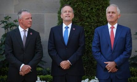 (L-R): Brendan Nelson, Malcolm Turnbull and Bill Shorten at a last post ceremony at the Australian War Memorial