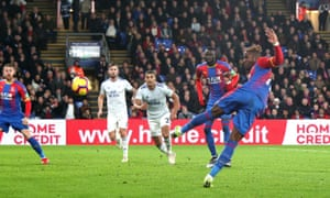 Crystal Palace's Wilfried Zaha has an acrobatic attempt on goal during the draw with Cardiff.