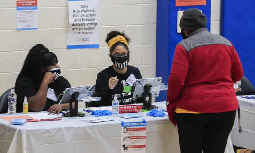 Voters at the Dunbar neighborhood center in Atlanta. Helen Butler, the executive director of the Georgia Coalition for the People's Agenda, said there was no justification for the bill.