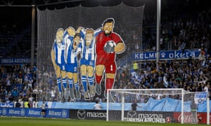 Alavés fans prepare to watch their team beat Real Madrid in La Liga.