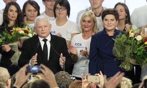 Jarosław Kaczyński, leader of Law and Justice party, and prime minister Beata Szydło on Sunday.