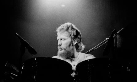 Ginger Baker performing with Baker-Gurvitz Army in the mid-1970s.