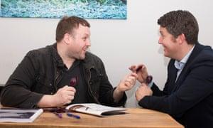 Daniel Lavelle with voice coach Jamie Chapman
