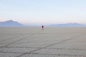 Black Rock Desert Nevada USA man flat playa salt pan Black Rock Desert Nevada