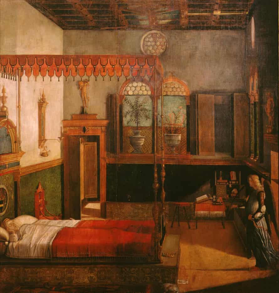 Saint Ursula's dream, from Scenes from the Life of St Ursula, Carpaccio, c1495.