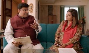 Pundit Sushil-Ji and Sima Taparia (right) in episode five of Indian Matchmaking.