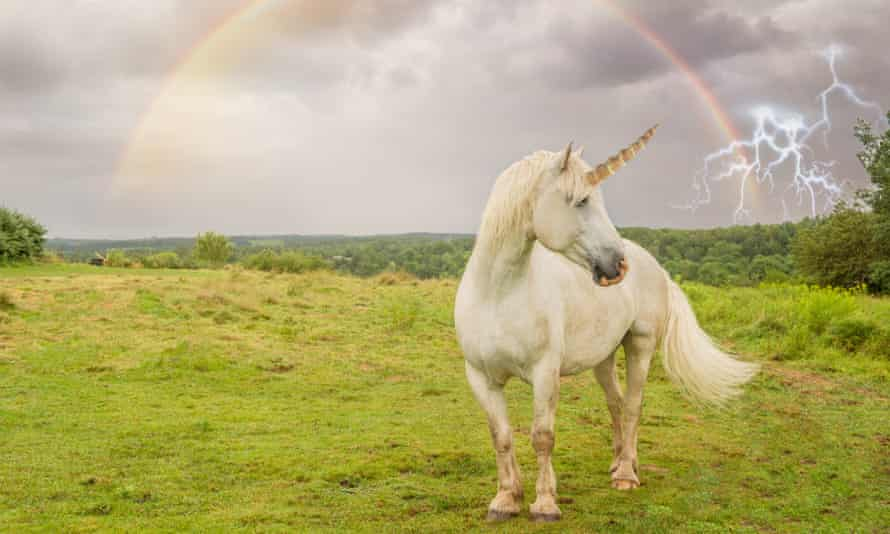A  unicorn in a field with rainbow and lightning