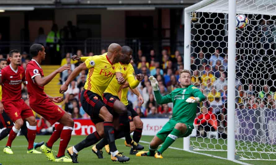 Stefano Okaka scores for Watford against Liverpool in August 2017.