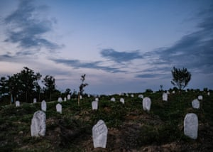 The graves of more than 300 unidentified asylum seekers at a cemetery in Greece