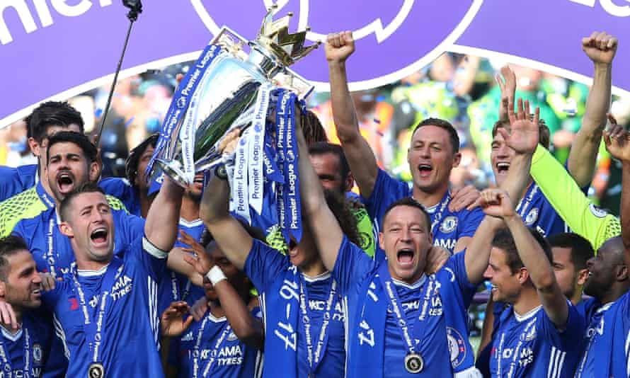 Chelsea celebrate with the Premier League trophy in May. The champions received £151m in TV revenue for last season but even bottom-placed Sunderland earned £93m.