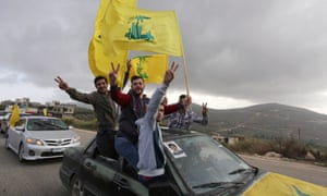Hezbollah supporters  celebrate the election results in Lebanon