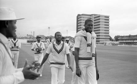 Malcolm Marshall and Curtly Ambrose leave the Trent Bridge pitch smiling.