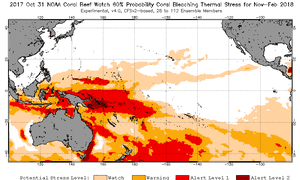 The Noaa graphic indicating the potential stress level as part of its Coral Watch program