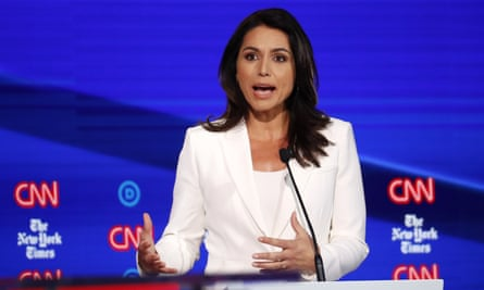 Democratic presidential candidate Tulsi Gabbard at the Democratic presidential primary debate hosted by CNN/New York Times in Ohio.