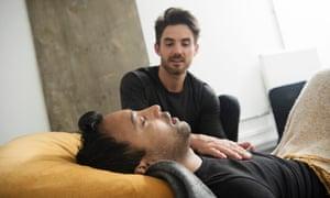 Stuart Sandeman takes Rhik Samadder through an affective breathing session
