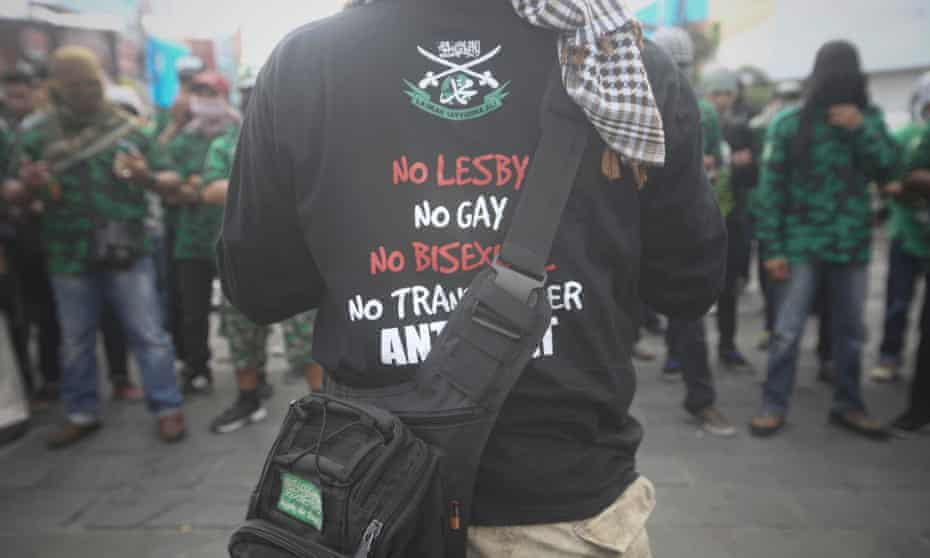 Feb 2016: Indonesian activists rallying against lesbian, gay, bisexual and transgender (LGBT) in Yogyakarta, Indonesia.