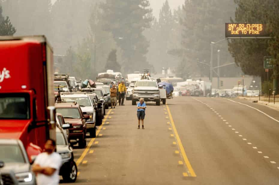 The scene in South Lake Tahoe, home to more than 20,000.