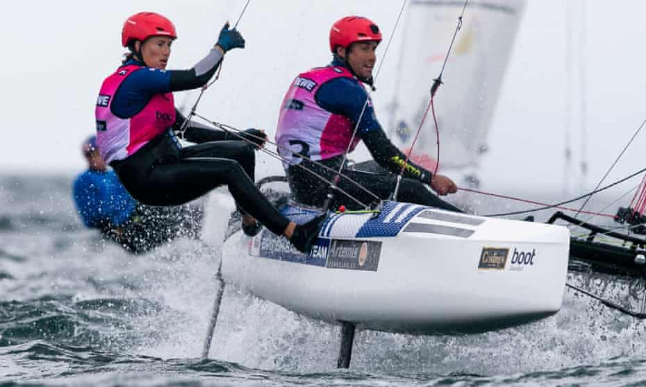 Nacra-17-sailors Anna Burnet (left) and John Gimson of Great Britain are on course during a race at the 126th Kieler Woche in September 2020.