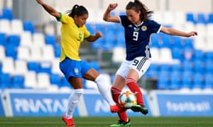 Debinha Oliveira of Brazil and Caroline Weir of Scotland during the Women's International friendly on 8 April in Murcia, Spain.