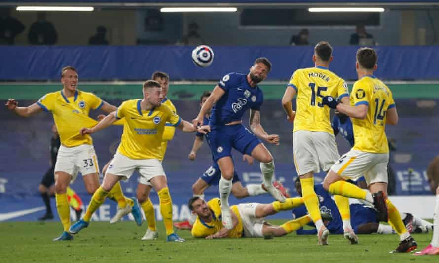 Chelsea's Olivier Giroud is surrounded by Brighton defenders but could have scored with the last chance of the game.