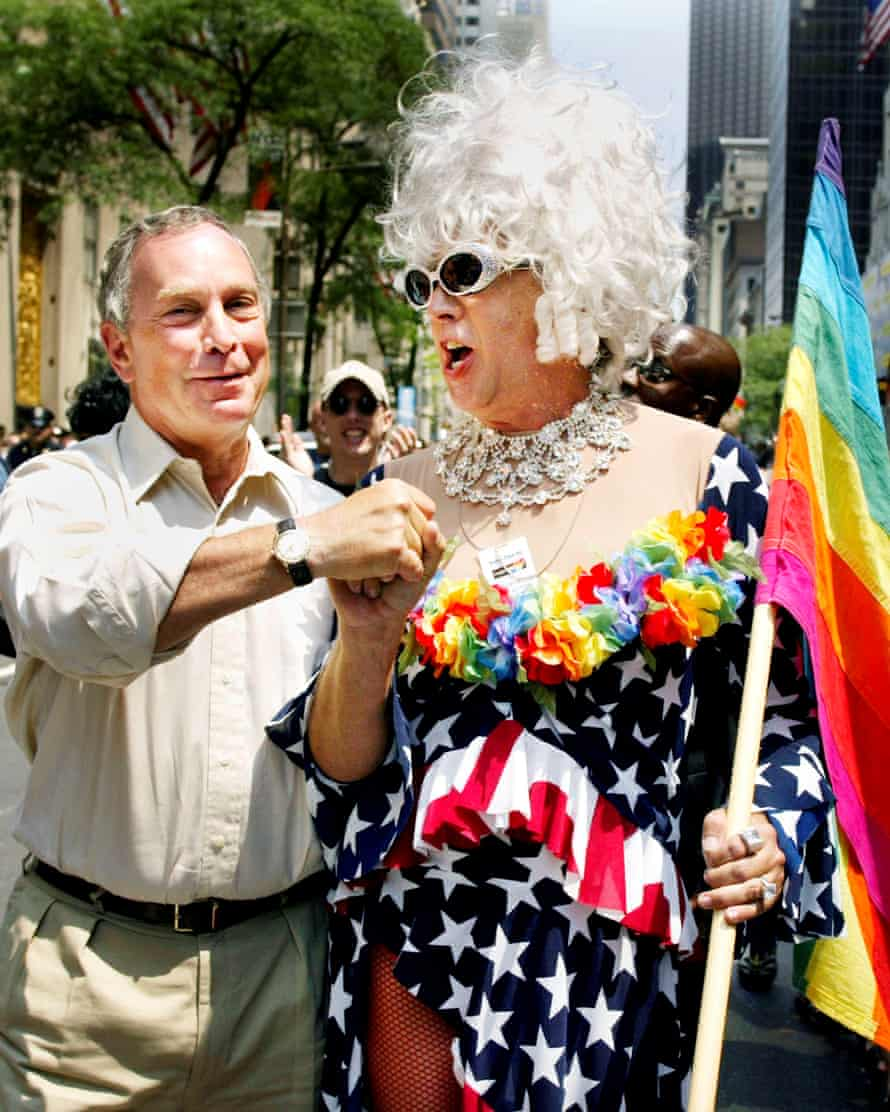 Former New York mayor Michael Bloomberg greets Gilbert Baker at the annual Gay Pride parade in New York City in 2002.