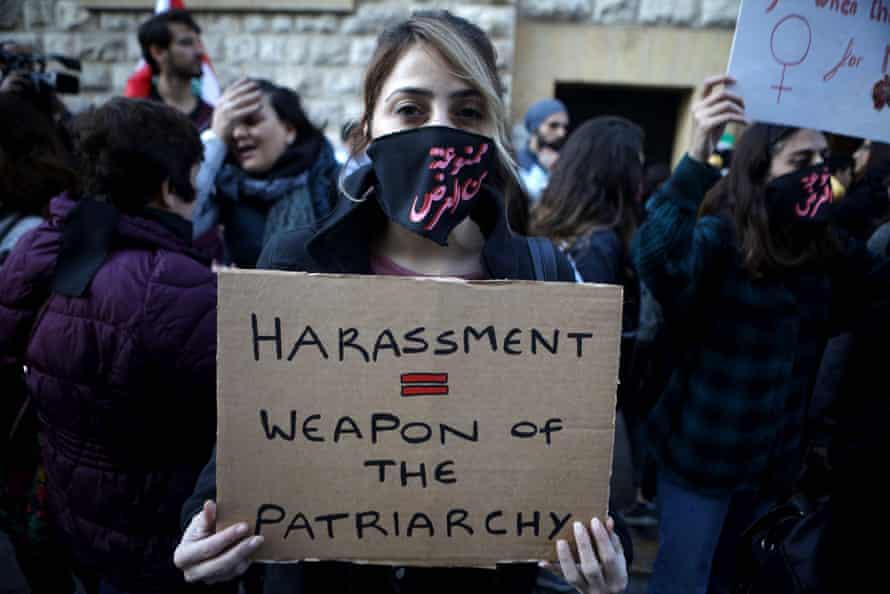An activist protests against sexual harassment, rape and domestic violence in Beirut, Lebanon, December 2019.