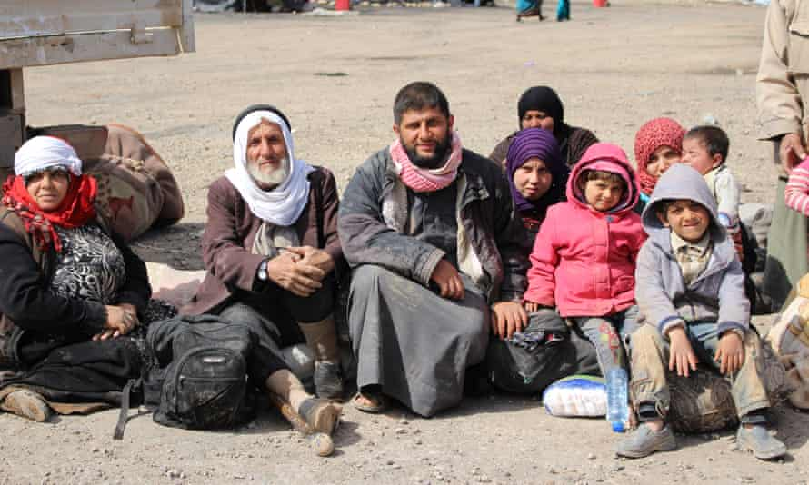 Mohammed Neheter and his family hours after escaping Raqqa