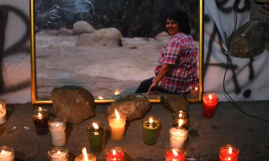 Candles are lit in memory of slain Honduran environmental Berta Cáceres, during a demonstration to demand justice and punishment for the masterminds behind her murder on 29 November.