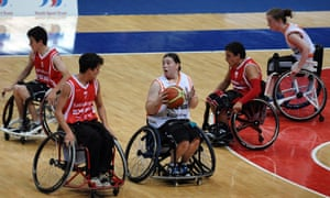 Freya Levy defends the ball during the wheelchair basketball at the 2013 Sainsbury's School Games.