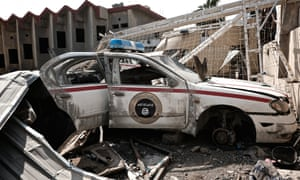 An Islamic State police car destroyed after heavy airstrikes in Mosul, Iraq.