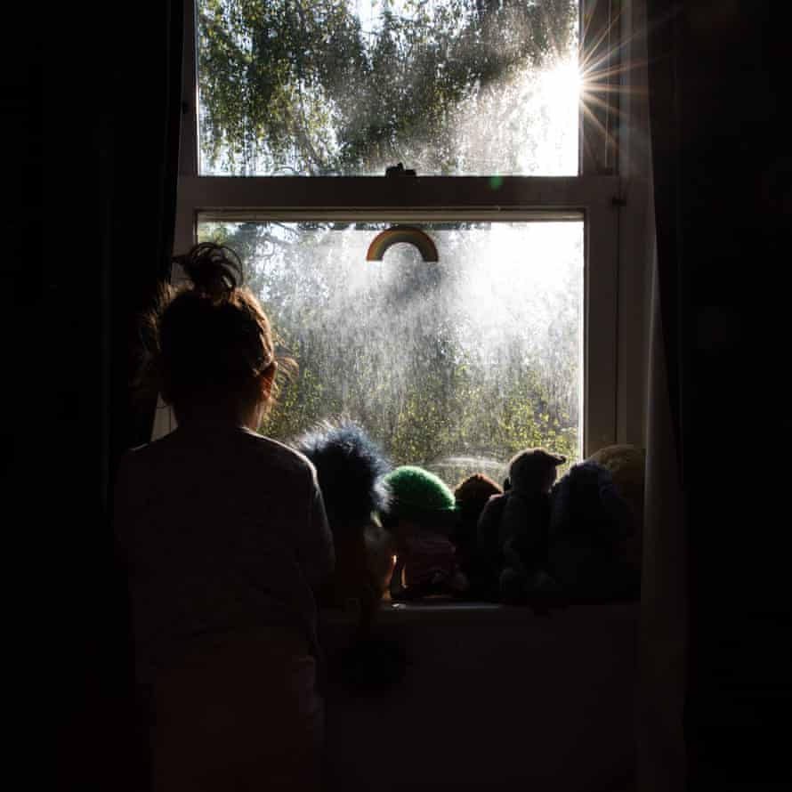 People gathered at window