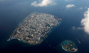An arial view shows the Maldives capital, Malé. Military personnel locked down the nation's parliament and blocked a no-confidence vote.