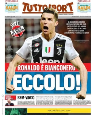 How Italian newspaper Tuuosport reported the news of Cristiano Ronaldo's transfer from Real Madrid to Juventus