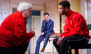 Peter Wight, Daniel Mays and Calvin Demba in The Red Lion by Patrick Marber at Dorfman, National Theatre