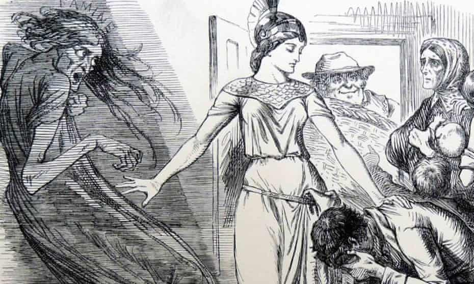 John Tenniel cartoon from 1862 showing Britannia visiting starving mill workers during the cotton famine