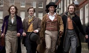 Samuel Barnett as John Millais, Sam Crane as Fred Walters, Aidan Turner as Dante Gabriel Rossetti and Rafe Spall as William Holman Hunt.