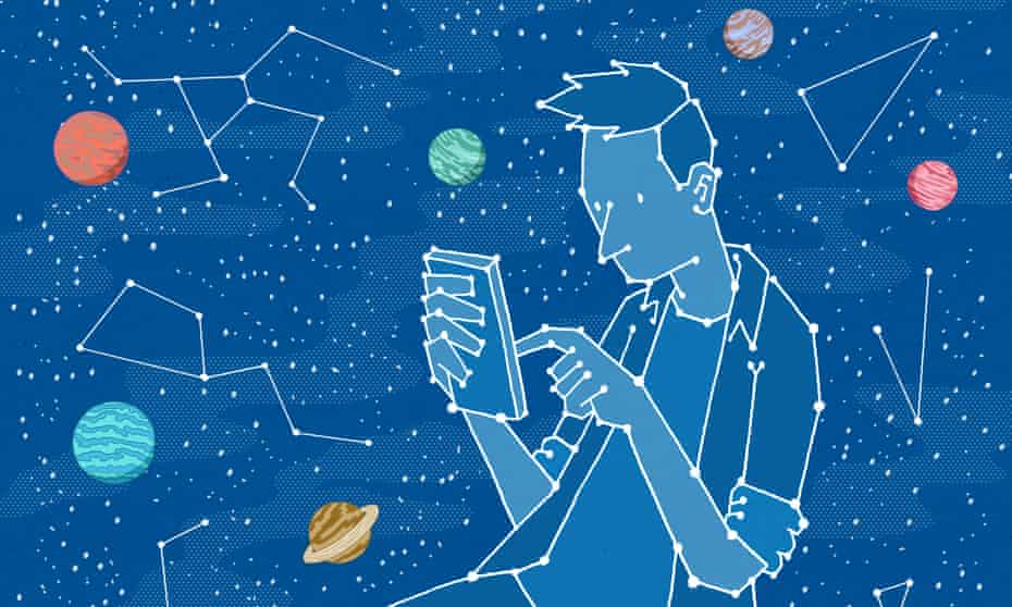 star map of young man on his phone