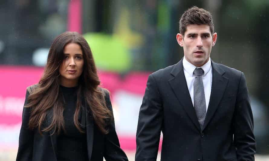 Ched Evans and his fiancee Natasha Massey outside Cardiff crown court.