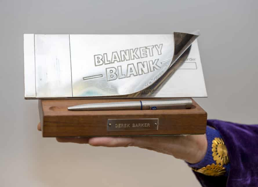 Thanks a lot … Blankety Blank pen and cheque book.