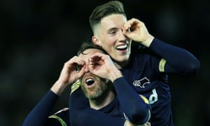 """Leeds United v Derby County, EFL Sky Bet Championship, Play Off Semi Final Second Leg, Football, Elland Road, Leeds, UK - 15 May 2019<br>EDITORIAL USE ONLY No use with unauthorised audio, video, data, fixture lists (outside the EU), club/league logos or """"live"""" services. Online in-match use limited to 45 images (+15 in extra time). No use to emulate moving images. No use in betting, games or single club/league/player publications/services. Mandatory Credit: Photo by Matt West/BPI/REX/Shutterstock (10237852bq) Richard Keogh and Harry Wilson of Derby County with a spying celebration at the end of the game Leeds United v Derby County, EFL Sky Bet Championship, Play Off Semi Final Second Leg, Football, Elland Road, Leeds, UK - 15 May 2019"""