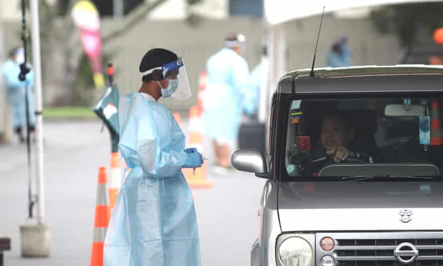 People are tested for Covid-19 in Otara New Zealand