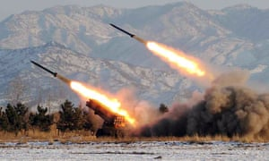 A missile-firing drill at an undisclosed location in North Korea is shown in a photograph released by official media.