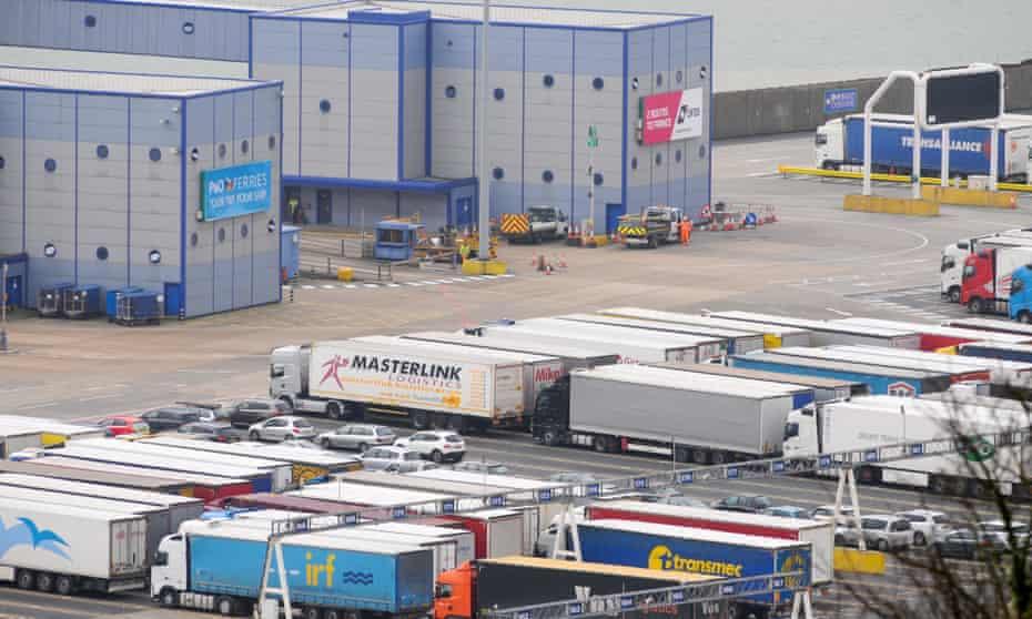 Trucks entering the port of Dover.