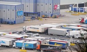 Foreign-registered trucks enter the Port of Dover.