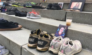 Shoes of those who died of an opioid overdose on the steps of the West Virginia Capitol in Charleston as part of overdose awareness day for those killed by prescription painkillers, heroin or artificial opioids.