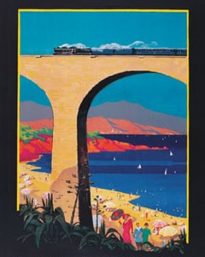 Steaming along: the Blue Train crosses the Viaduc d'Anthéor in the famous poster.